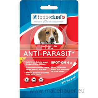 BOGAR bogadual ANTI-PARASIT SPOT-ON, pes, 5-25kg, 4x1,5ml